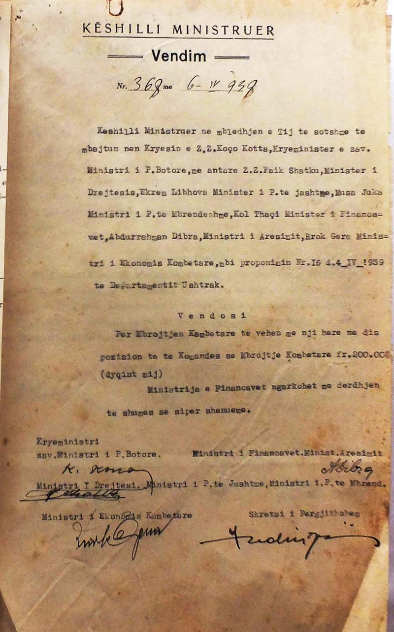 Vendimi i fundit i qeverisë para 7 prillit 1939